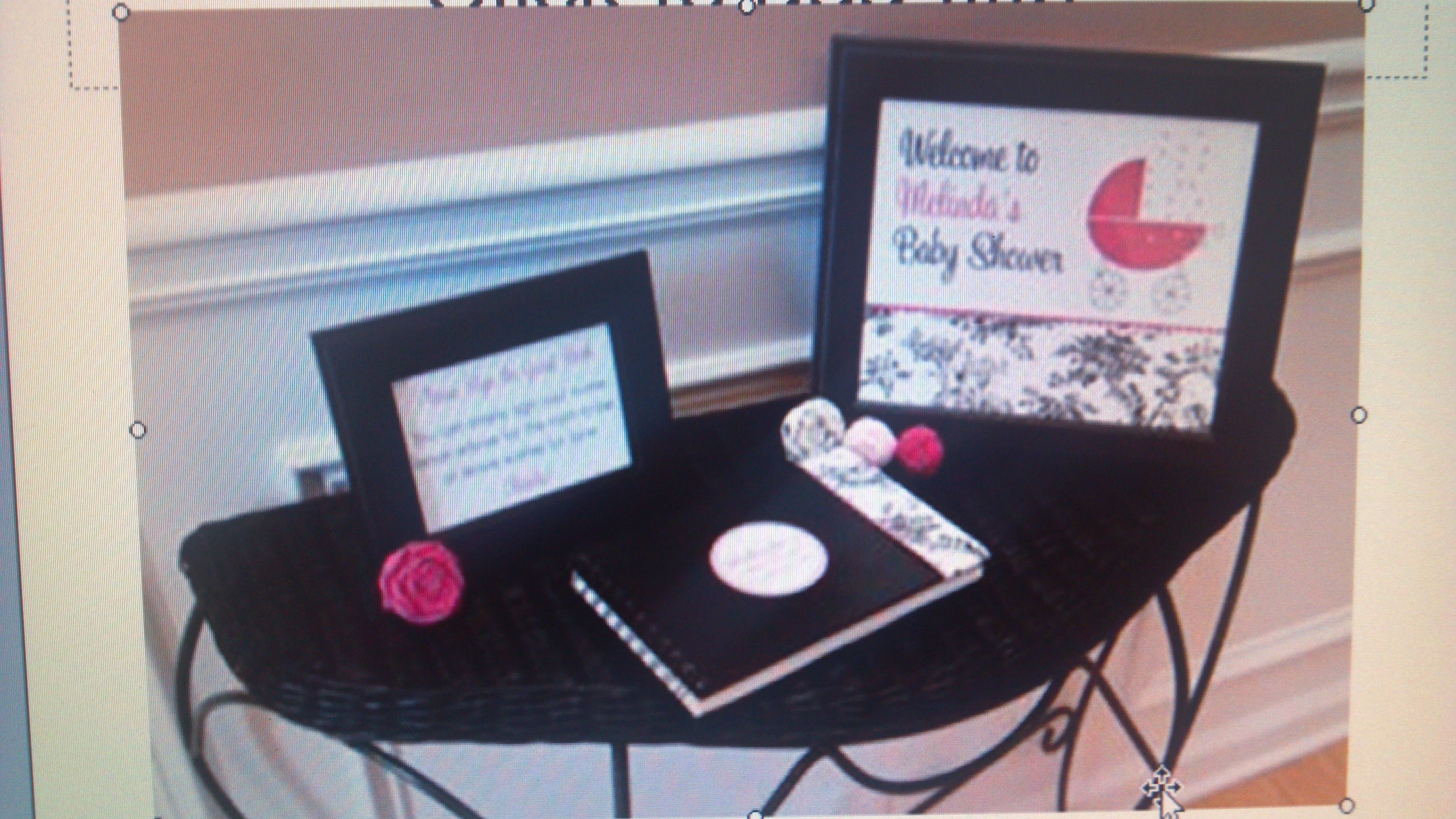 Table guest book set up i have the welcome sign, and the guest book ready.