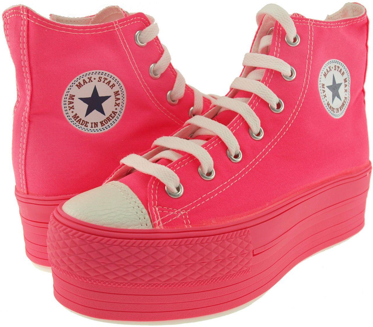 6cf93c863af56 MaxStar C50 7 Holes Canvas Zipper Platform All Neon Sneakers Shoes 3 ...