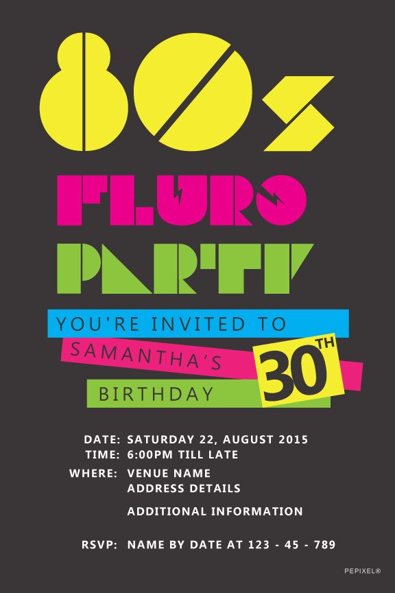 S Birthday Digital Printable Invitation Template Fluro Party - 80s party invitation template