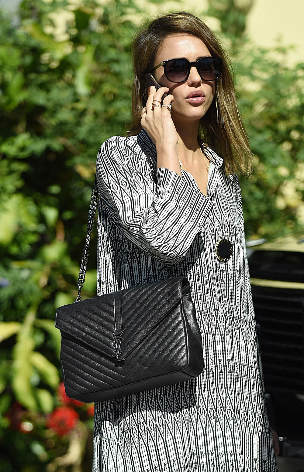 Jessica Alba Saint Laurent College Bag Alist Celebrity