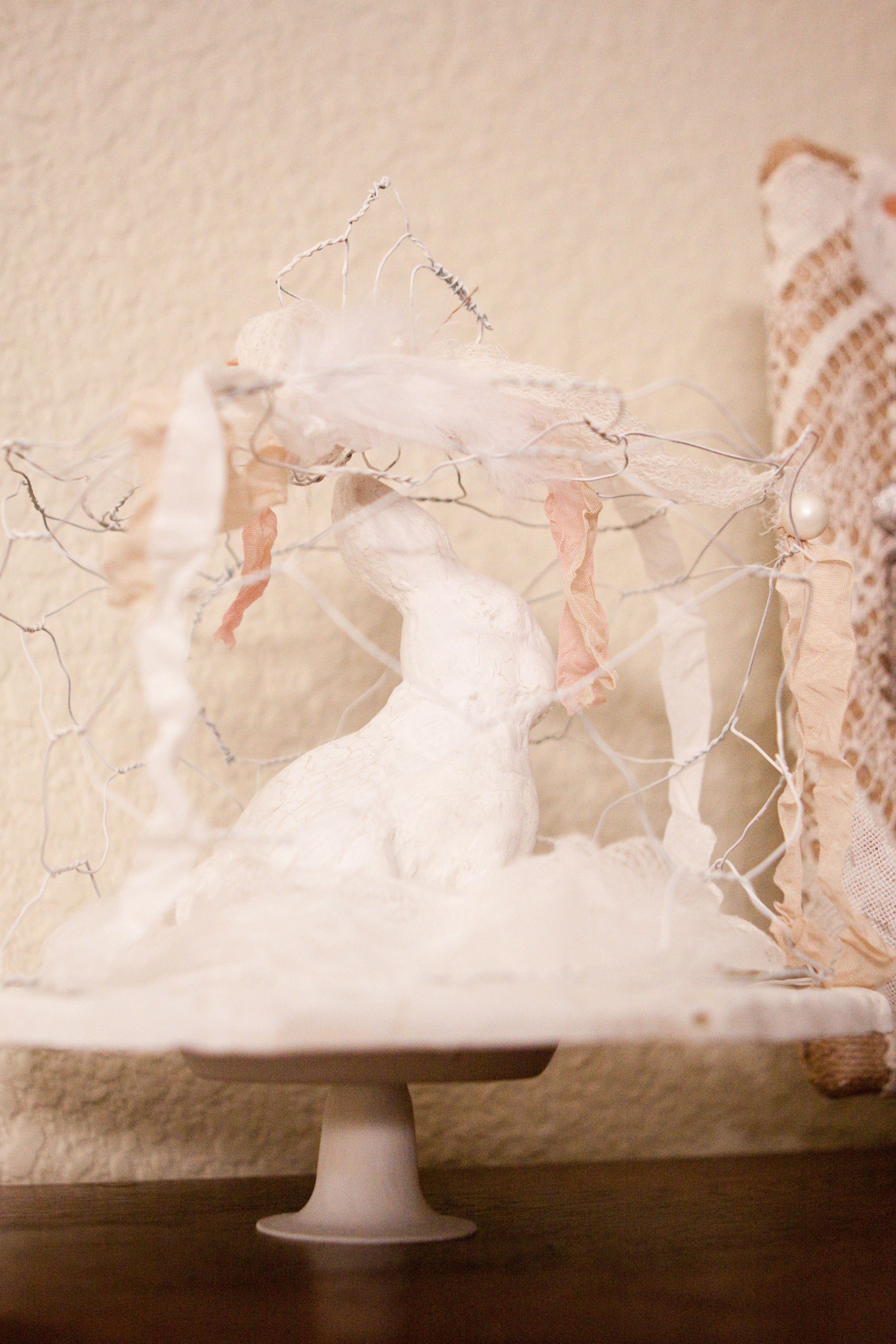 Bunny cake stand with chicken wire dome spring pinterest