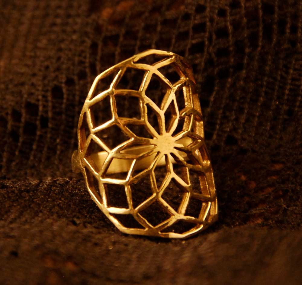 Flower Of Life Brass Ring Sacred Geometry Antique Stylish