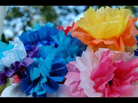 Tissue Paper Flowers--Fun and easy tutorial for making pretty tissue paper flowers.