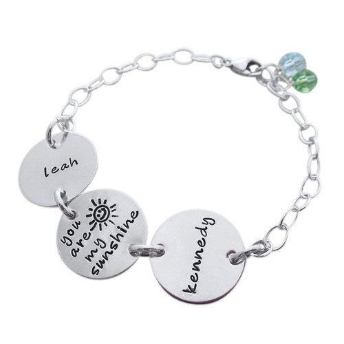 You Are My Sunshine Bracelet with Names - Child Name Bracelet - Childrens Names Bracelet - Personalized Mothers Bracelet - Hip Mom Jewelry