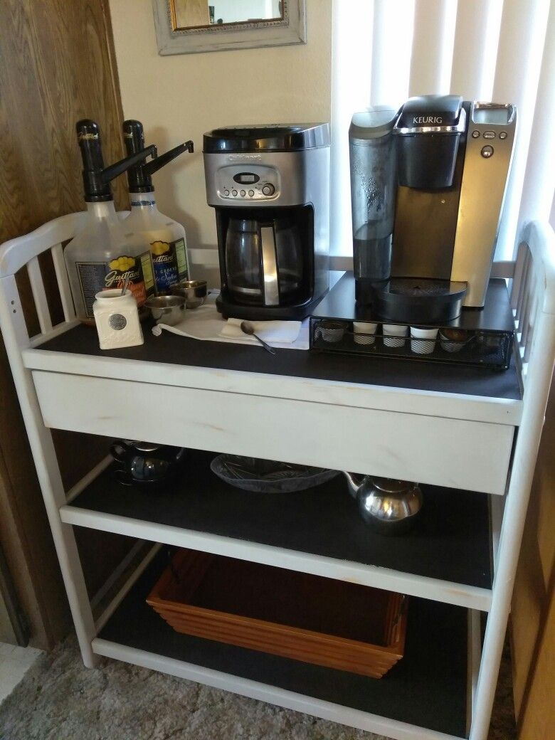 Repurposed Changing Table Turned Into A Coffee Bar Painted With