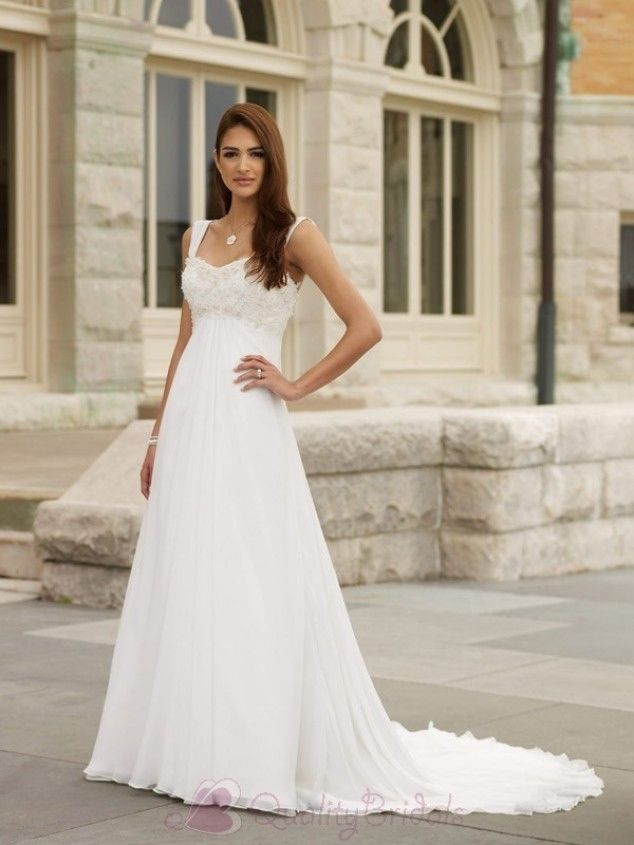 e6b4ebd868cb2 Ivory Straps Lace Chiffon A-line/Princess Simple Wedding Dress ...