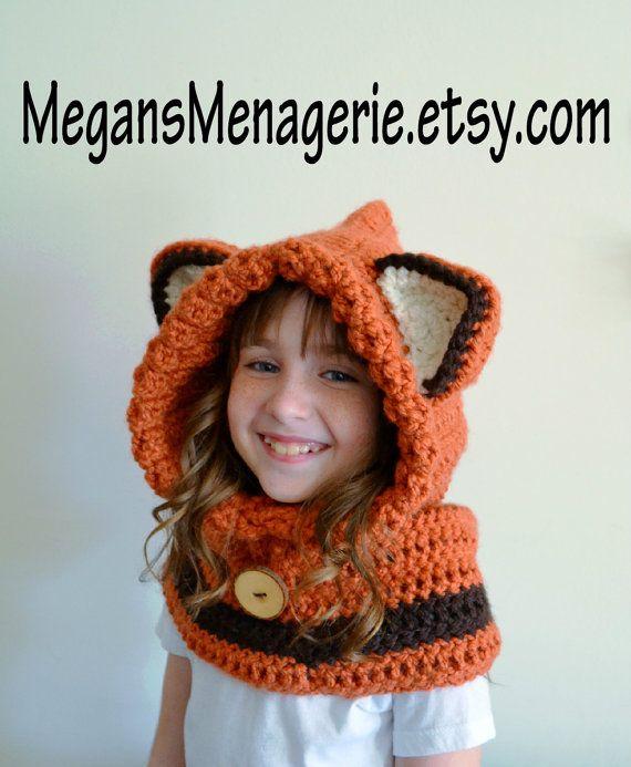 6dbfb573bcd Fox Hat - Fox Hoodie - Fox Cowl - Animal Hat - Hooded Scarf - Crochet
