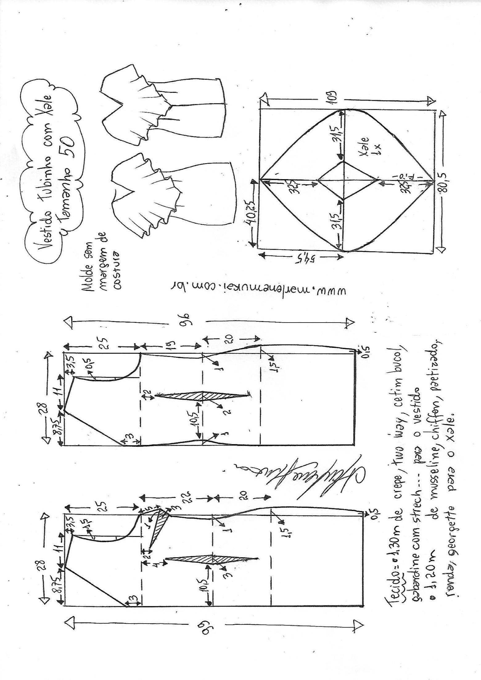 Vestido festa tubinho strech com decote xale | PATRONES COSTURA ...
