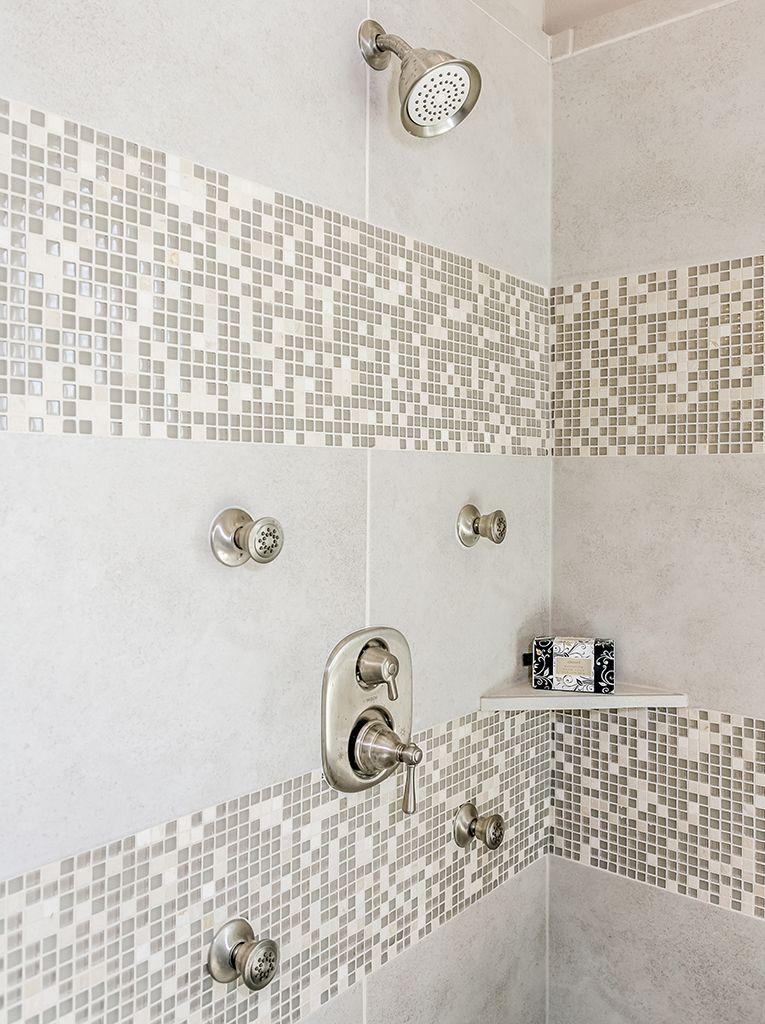 Gehan Homes Master Bathroom Cream Shower Spa Brushed Nickel - Bathroom tile houston