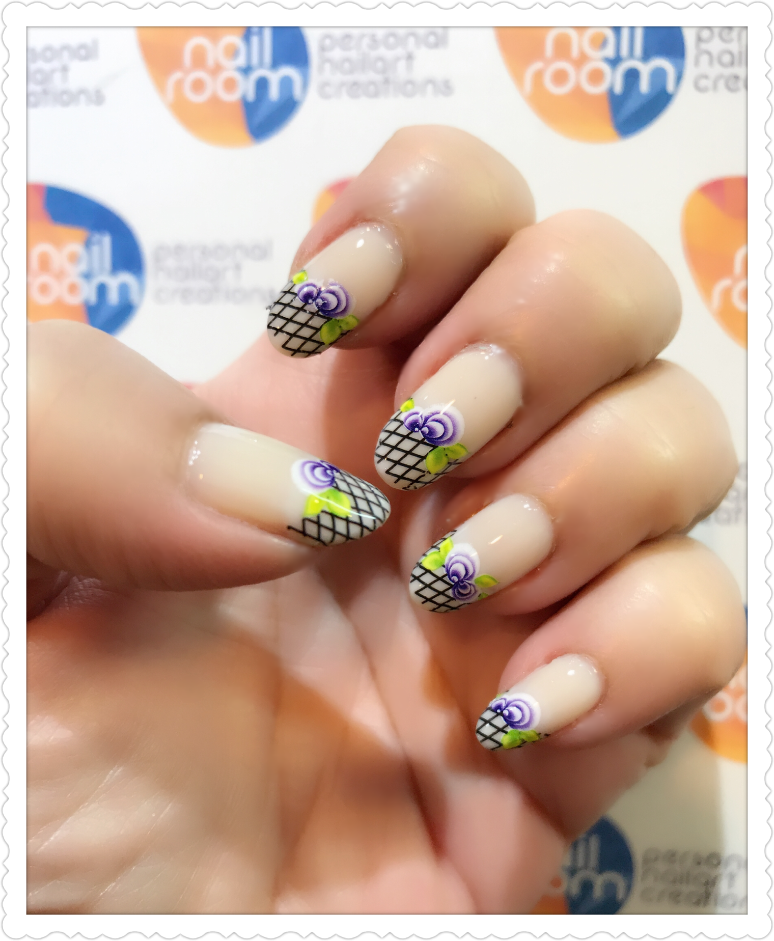 Floral french nailart using water decal transfer. Products used ...