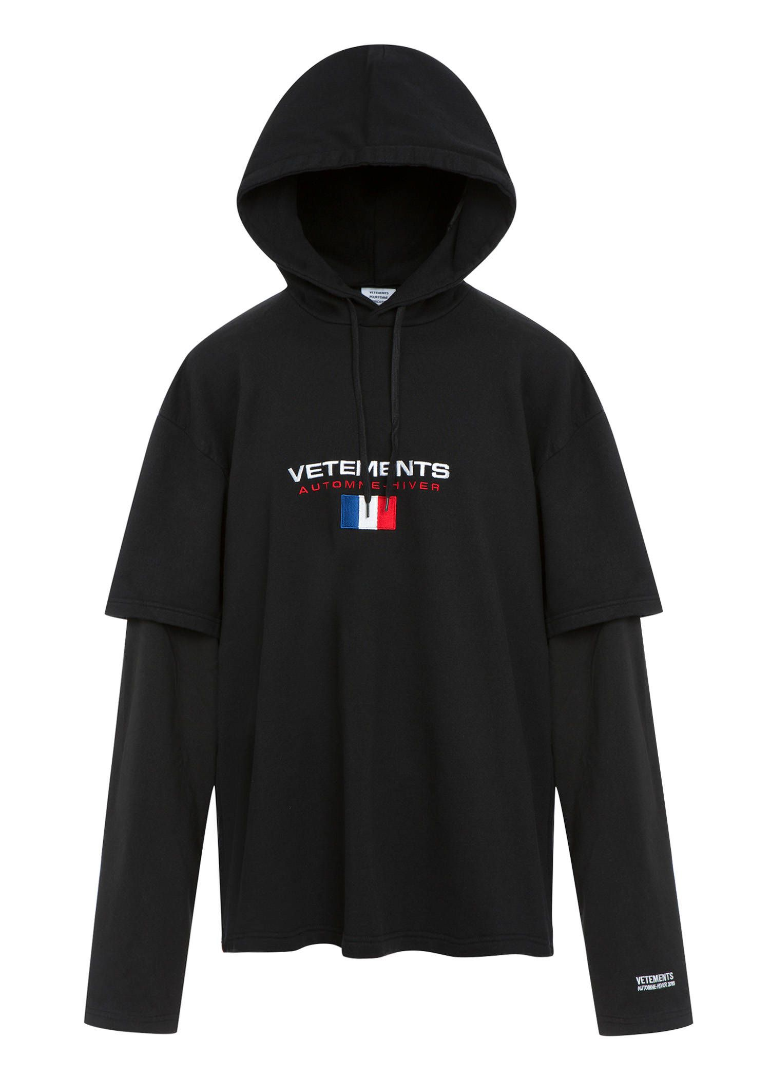 Cotton-blend hooded sweatshirt VETEMENTS Cheap Sale Geniue Stockist tpF4Q