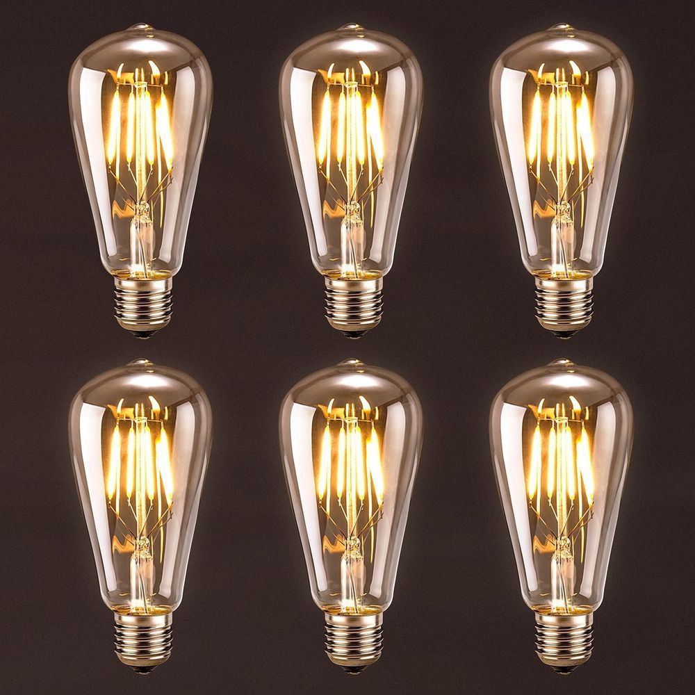Vintage Antique LED Bulb 6 Pack 4w ST64 Edison Light
