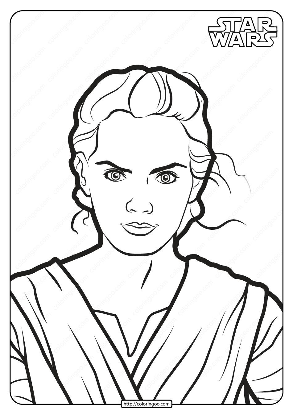 Printable Star Wars Rey Skywalker Coloring Pages Rey Star Wars Coloring Pages Drawing Stars
