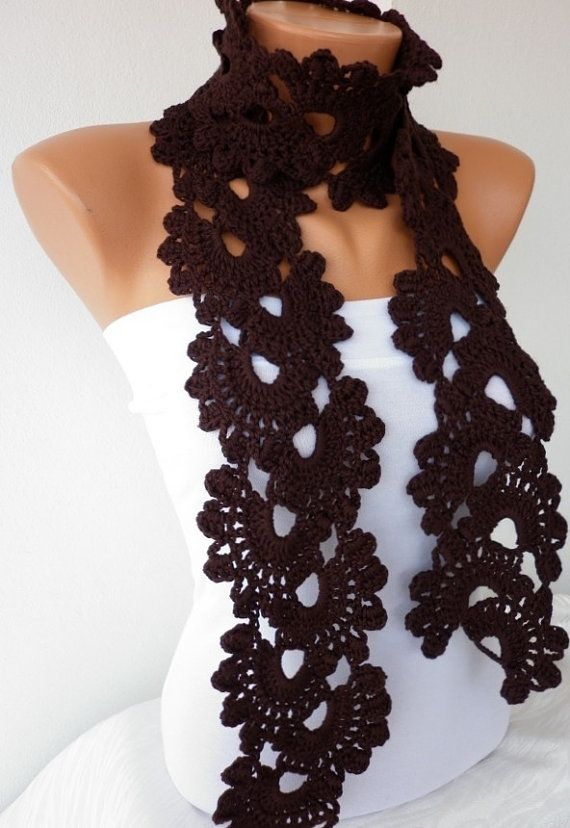 Brown Queen Anne\'s Lace Scarf Crochet Scarf Dark Coffee Chocolate ...