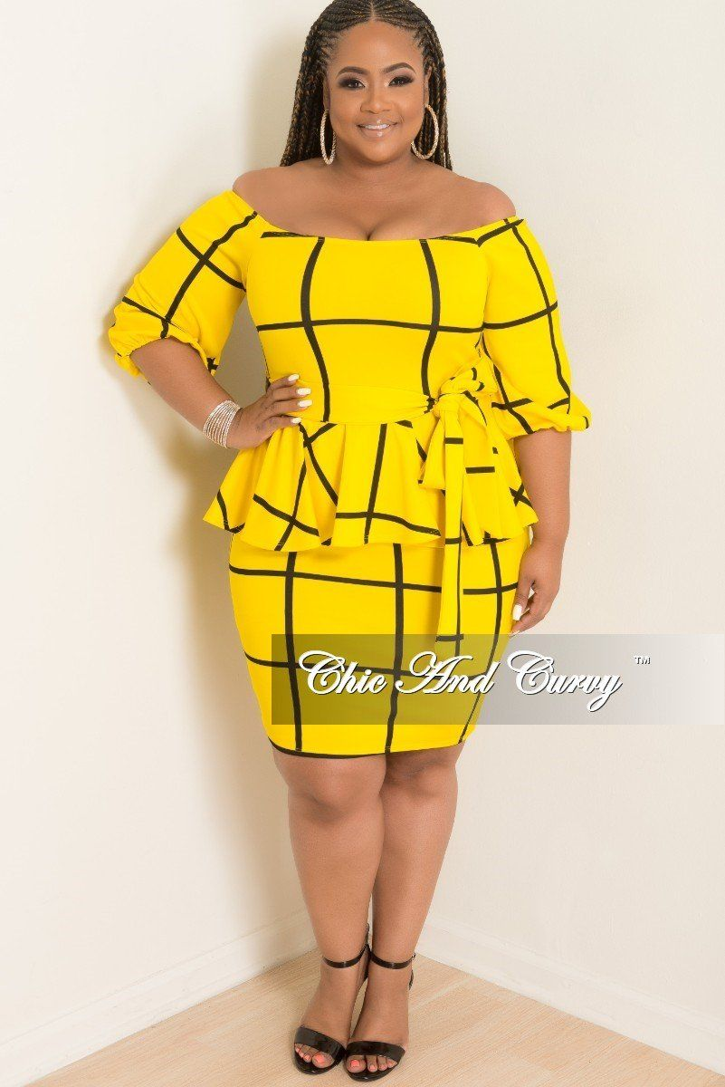 7d1db3adccf1 Plus Size Off the Shoulder Peplum BodyCon Dress with Attached Tie – Chic  And Curvy