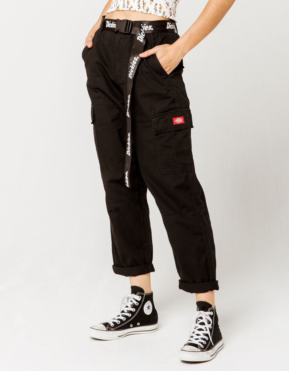 Dickies Belted Utility Black Cargo Pants Black 355708100 Cargo Pants Outfit Black Cargo Pants Skater Girl Outfits