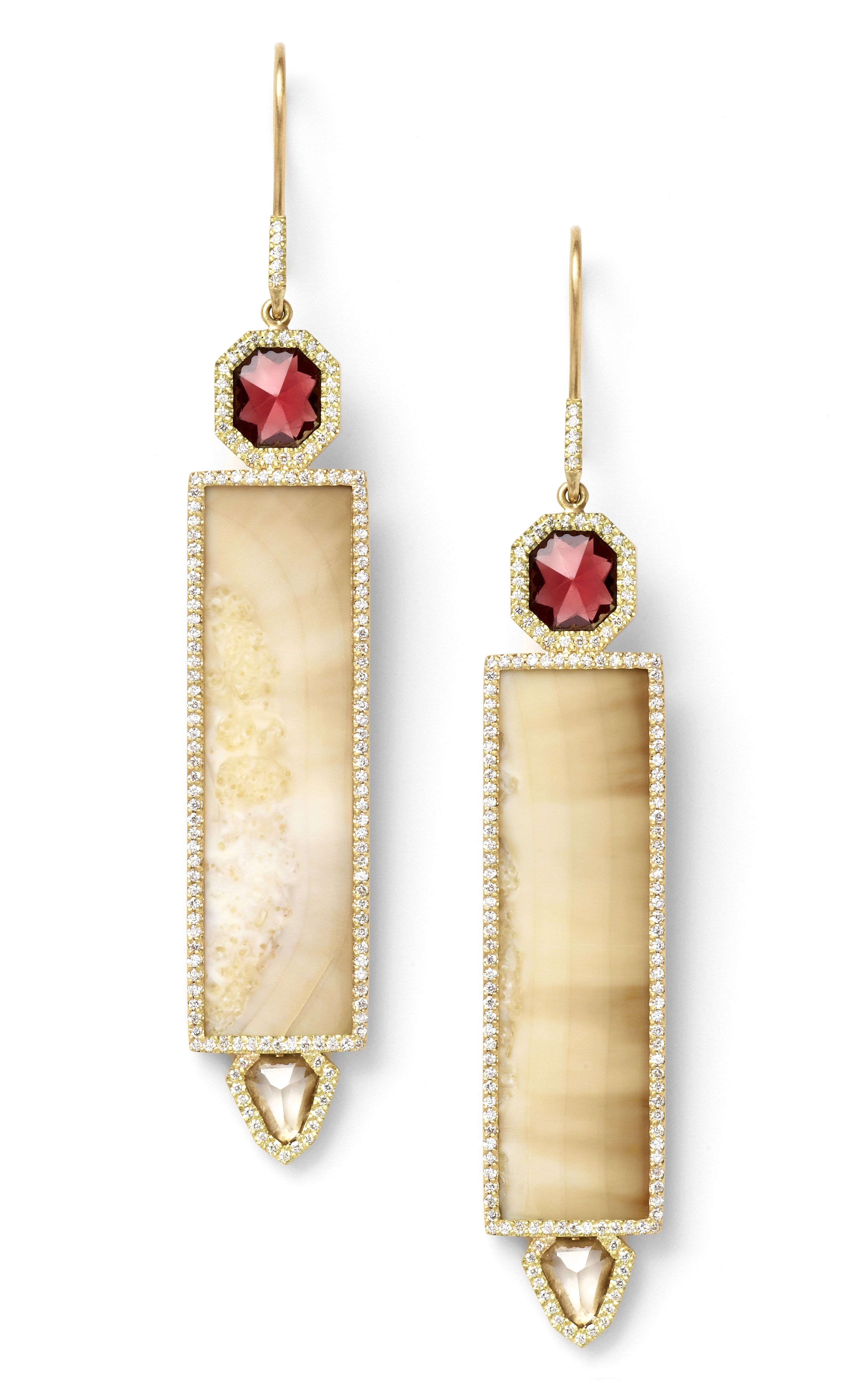 Incredible....Monique Pean Fossilized Walrus Ivory Earrings with Natural Garnet and White Sapphire