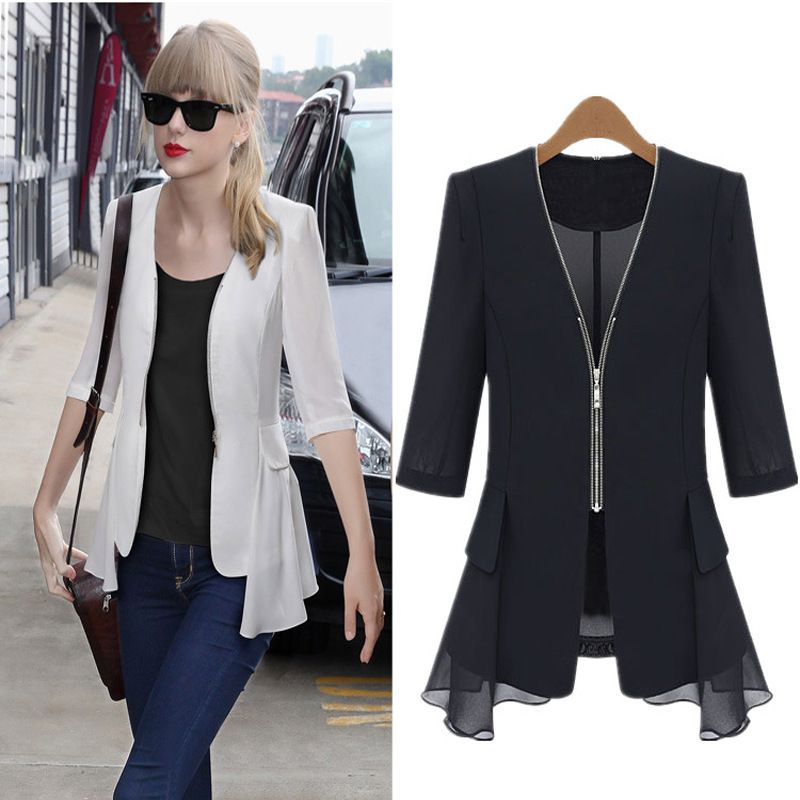 2015 hot autumn summer women three quarter sleeve chiffon bomber ...