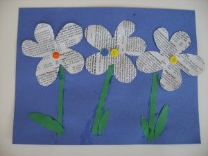 Newsprint flowers. This would be such a fun recycling project for Earth-awareness activities.