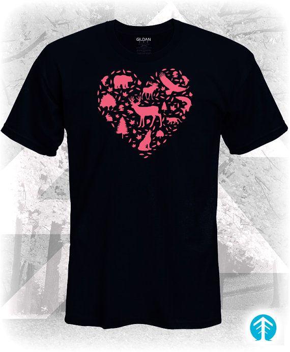 Love Wildlife Tshirt  Wilderness Love Tshirt  by TrueNorthTshirtCo