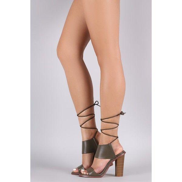 Liliana Open Toe Lace-Up Chunky Heel ($55) via Polyvore featuring shoes, pumps, liliana footwear, lace up shoes, laced up shoes, chunky heel shoes and open toe shoes