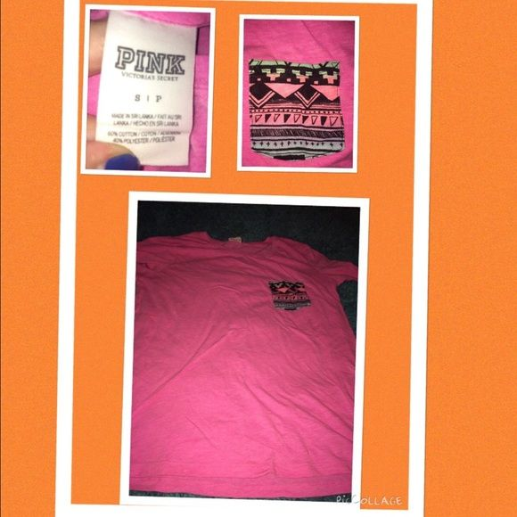 Vs pink shirt Tribal Victoria secret pink shirt super cute it's a small but runs like a medium! PINK Victoria's Secret Tops Tees - Short Sleeve