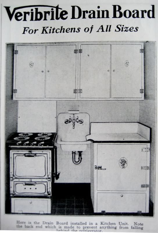 A stove sink refrigerator and cabinetry all in about 24 for 1925 kitchen designs
