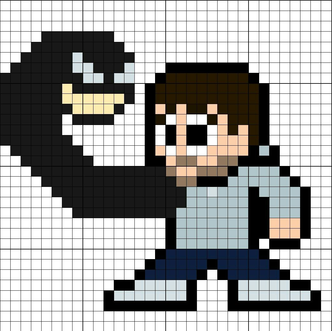 Eddie Brock w/Venom Perler Bead Pattern | Pixel art, Cross ...