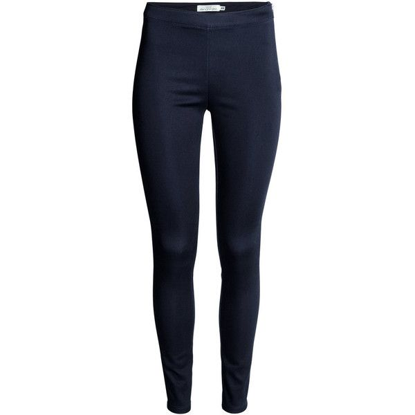 Treggings $17.99 (32 BRL) ❤ liked on Polyvore featuring pants, leggings, blue leggings, blue pants, twill pants, side zipper pants and pocket leggings