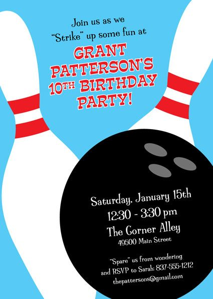 JJu0027s 5th birthday is bowling theme this year, what about this - bowling invitation