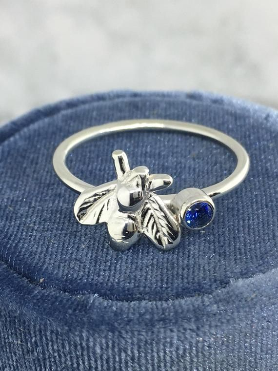 Photo of April Birthstone Ring, Teen Jewelry, Silver Bee Jewelry, Dainty Bee Ring, Solitaire Ring, Gift for M