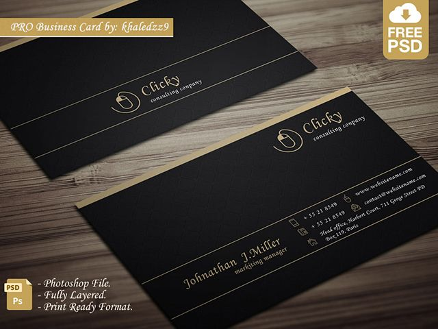 Beautiful free professional business card template on dark - business card sample