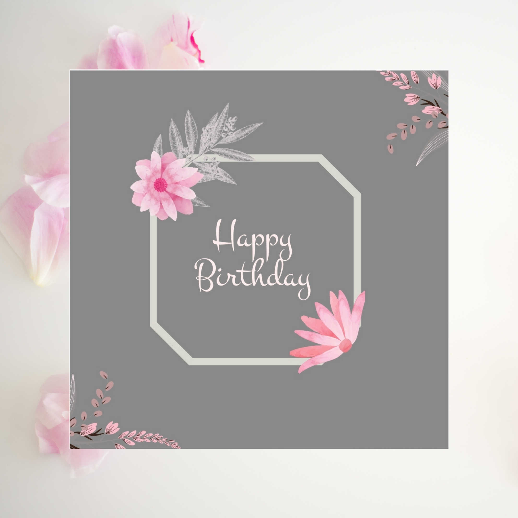Flower Birthday Card Pretty Card Plant Happy Birthday Card Printable Digital Editable Freedemo Flower Birthday Cards Happy Birthday Cards Birthday Cards