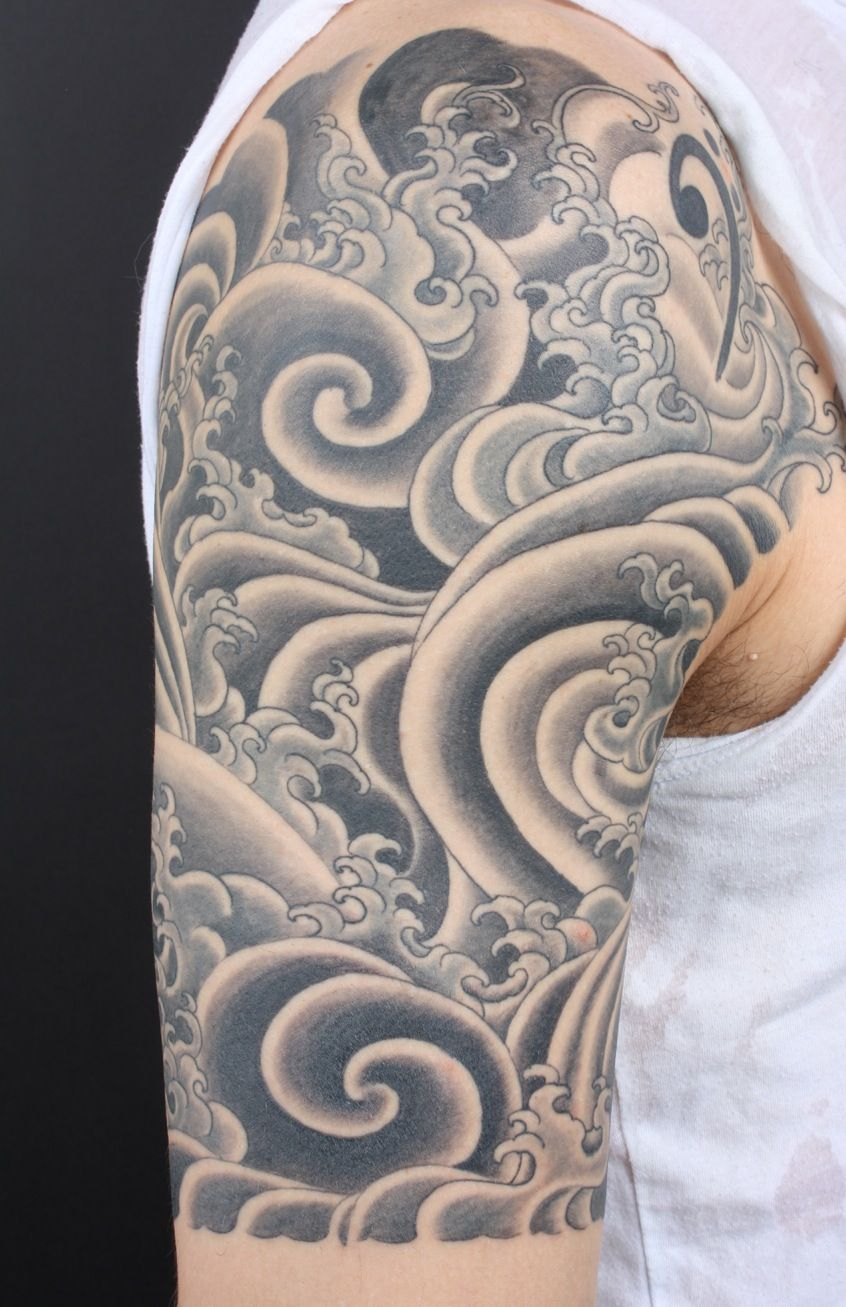 Posts About Tibetan Style Water On Tattooing Art By Yoni Zilber Waves Tattoo Japanese Wave Tattoos Cloud Tattoo Design