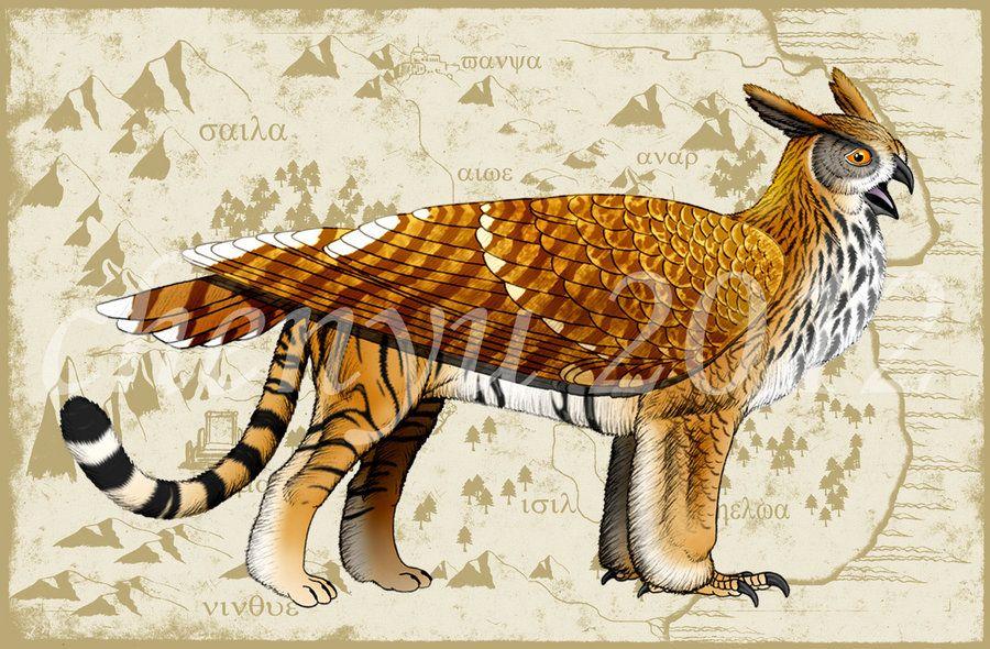 Tiger Owl Griffin By Sinammonite Deviantart Com On Deviantart Big Cats Art Mythical Creatures Art Mythological Animals