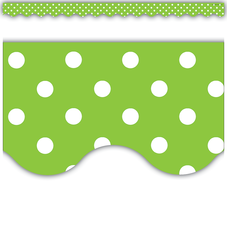 Lime Mini Polka Dots Scalloped Border Trim