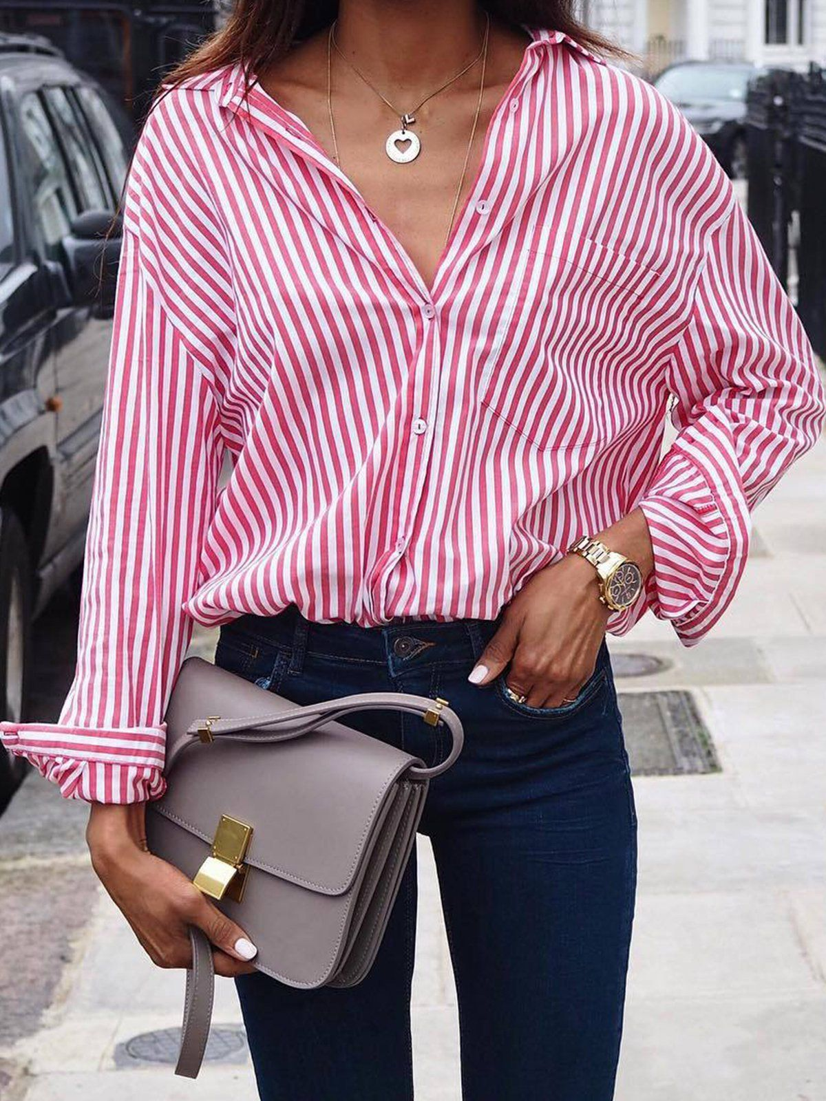 3903cb9b9f1 Striped Shirt Collar Buttoned Long Sleeve Plus Size Blouse in 2019 ...