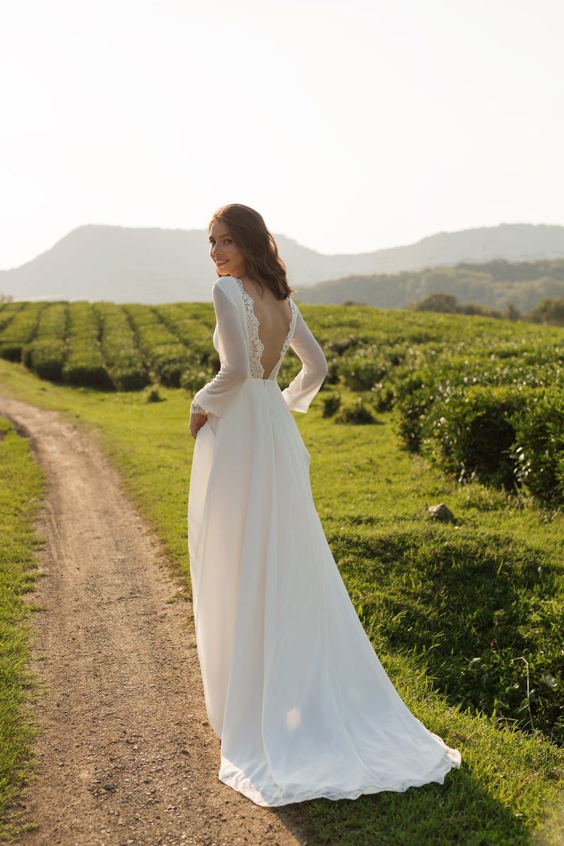 Chiffon wedding dress ANASTEISHA,  long sleeves simple wedding dress with open back