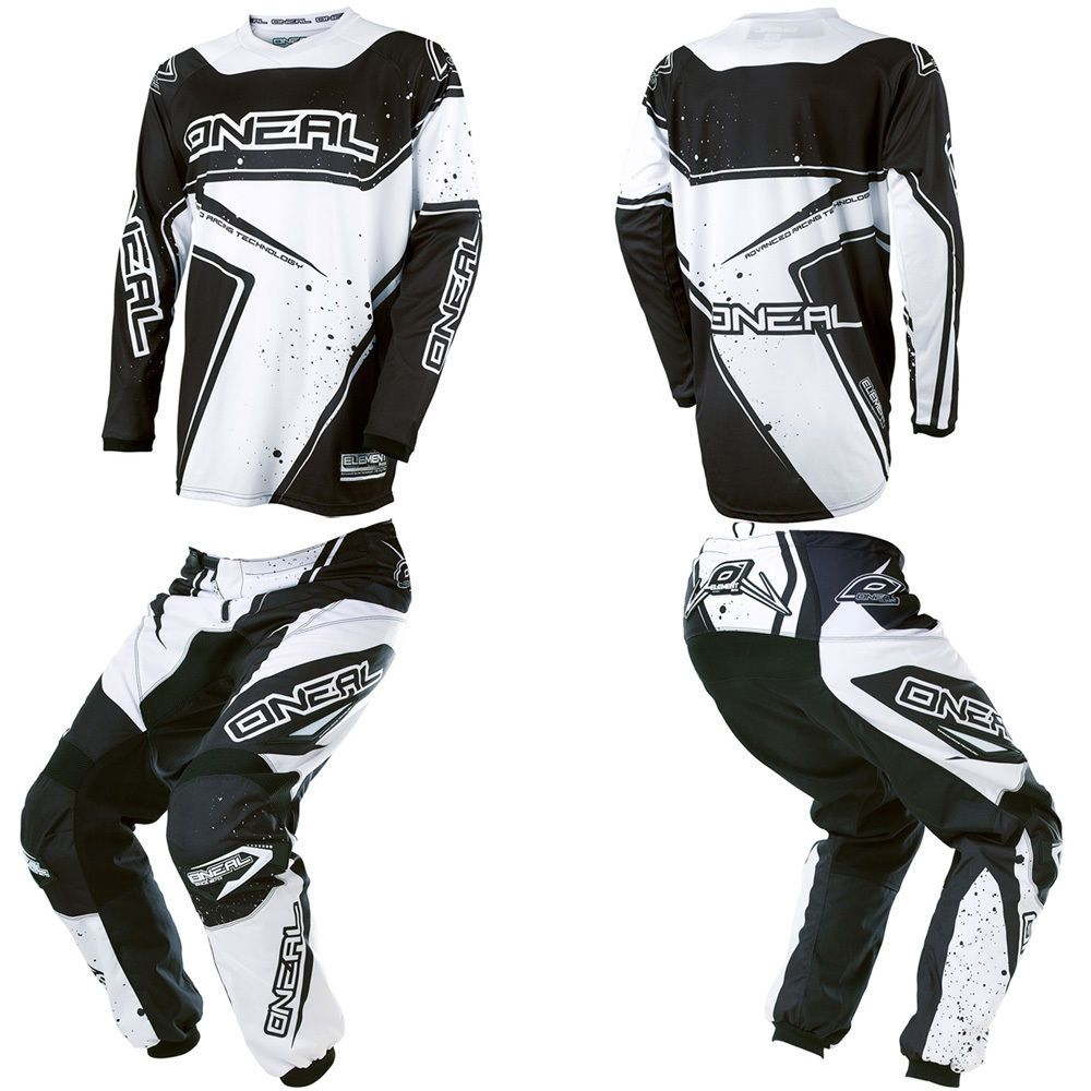 O Neal Element Black White Motocross Off Road Dirtbike Gear Jersey Pants Combo Jersey Pants Motocross Kids Motorcycle