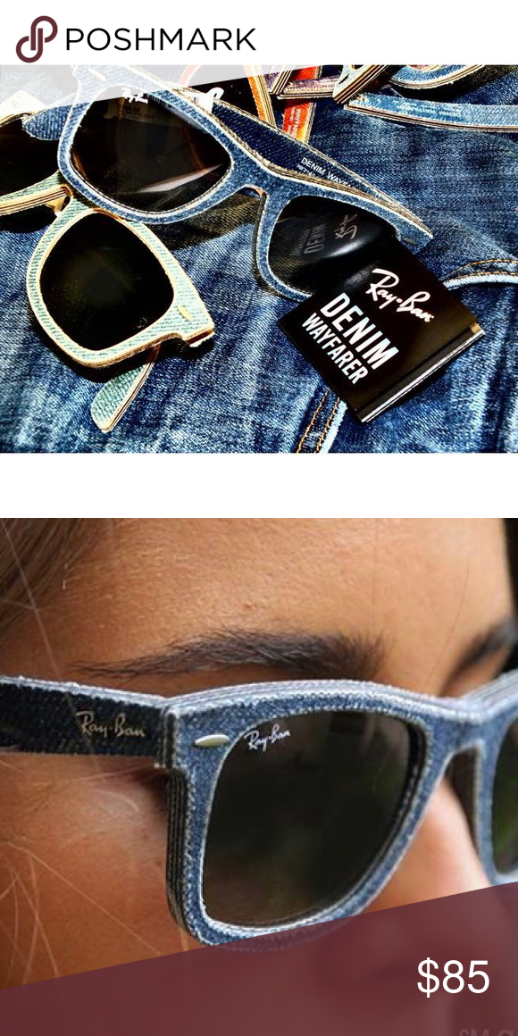 009bab331040f Denim Ray-Bans More photos to come!!! Light blue denim RayBan wayfarers.  Excellent condition. They are marketed as men s but I am a woman with an  average to ...