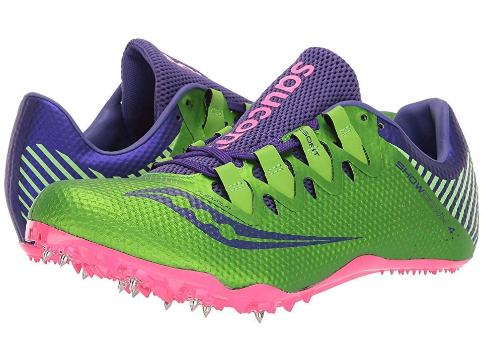 Saucony Showdown 4 (Slime/Purple) Women's Shoes. In the blink of an eye your competition has already missed you sprint past in the Saucony Showdown 4 racing spike! Predecessor: Showdown 3. Support Type: Natural. Cushioning: Barefoot feel. Surface: Track and field. Differential: Not provided. Lightweight mesh and thin synthetic upper materials. Lace-up closure. ISOFIT lacing allows for optimal adjustment that promotes a snug  s