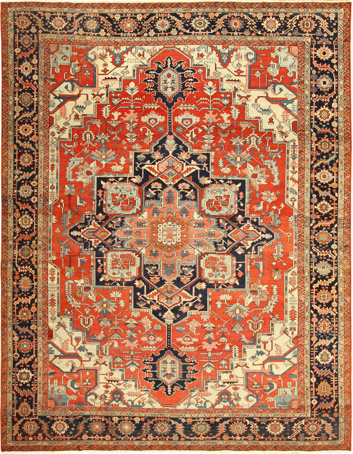 Beautiful Red Background Antique Serapi Persian Rug 49358 By