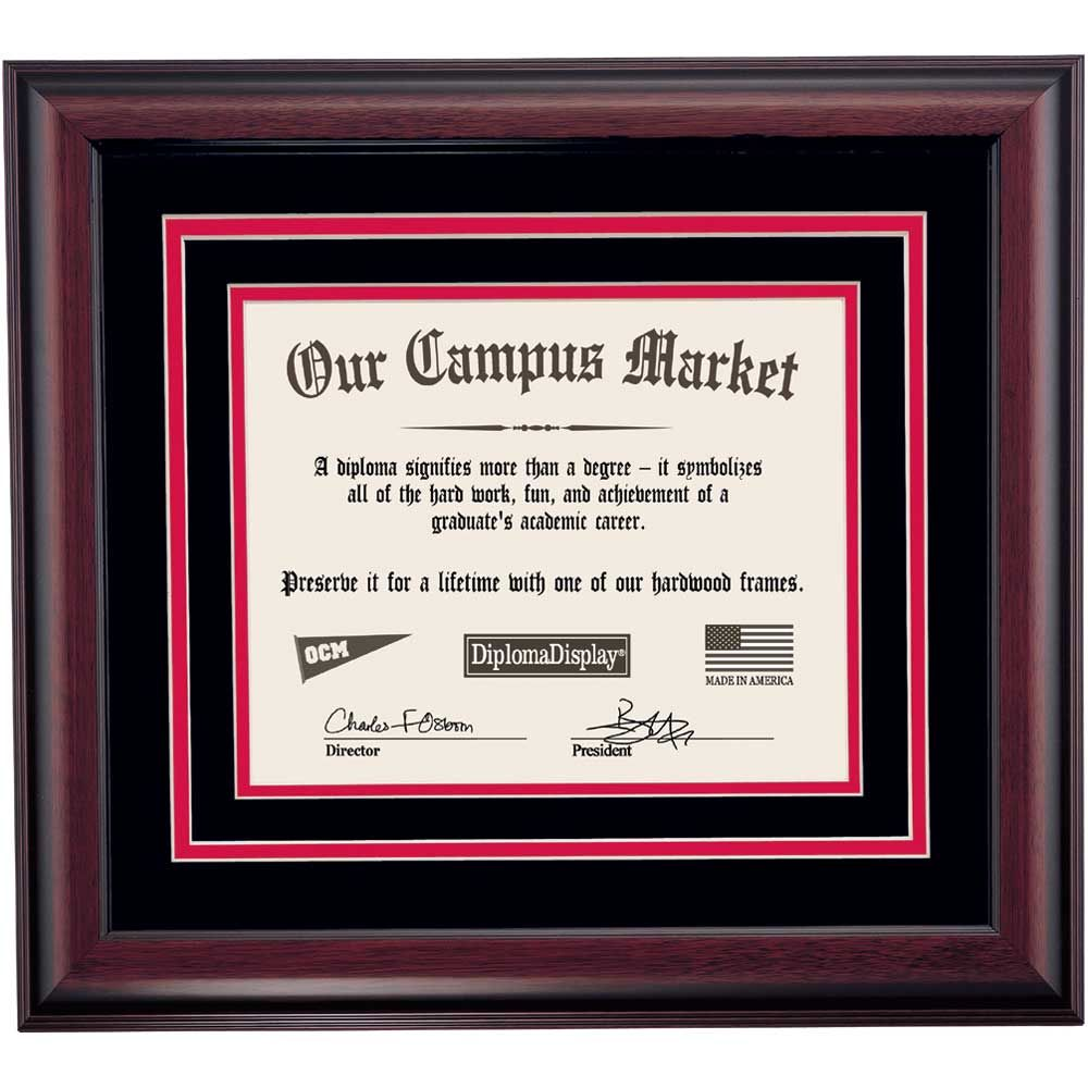 Heritage Frame with Black and Cherry Matting for 8.5 x 11 Diploma ...