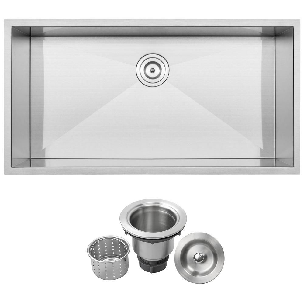 Ticor Pacific Zero Radius Undermount 16 Gauge Stainless Steel 36 In Single Basin Kitchen Sink With Basket Strainer S3700 The Home Depot Stainless Steel Undermount Single Basin Kitchen Sink Single Basin