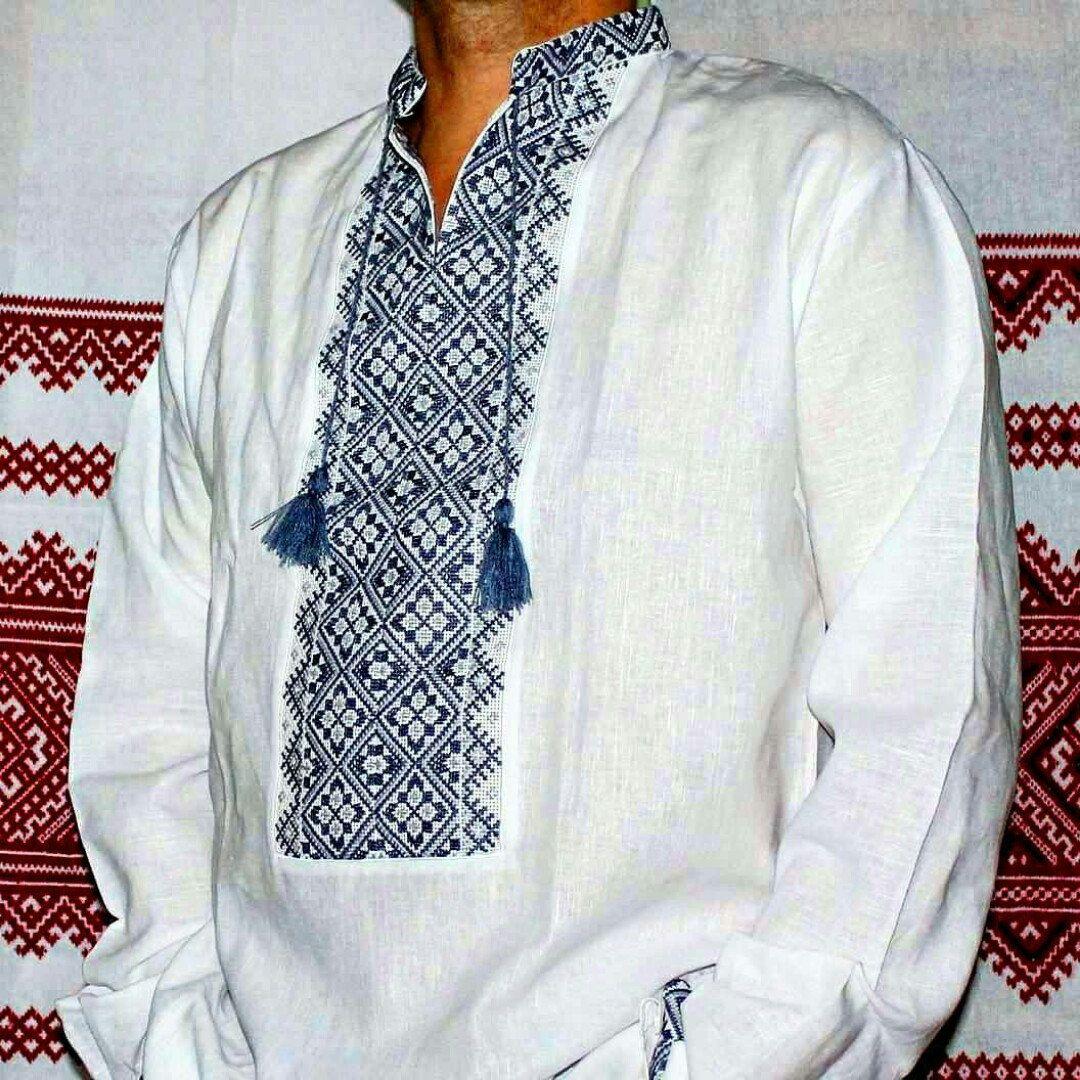 Ukraine embroidery vyshyvanka mens shirt ukrainian traditional handmade embroidered ukrainian traditional white linen shirt vyshyvanka with blue embroidery easter gift for him negle Gallery