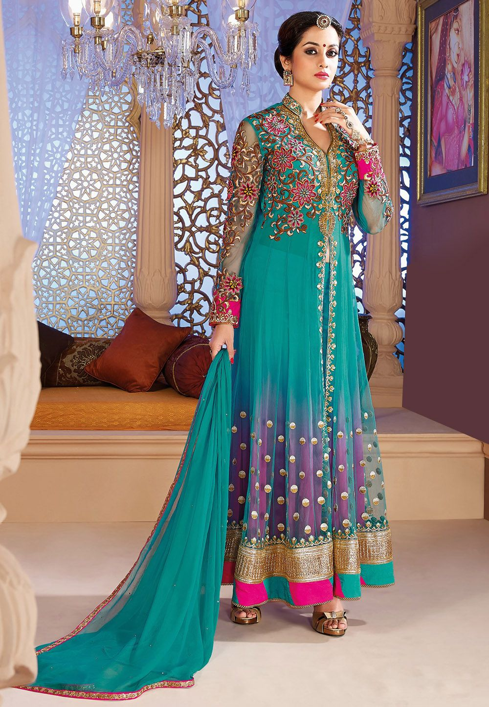 Turquoise #Blue Net #AnarkaliChuridarKameez @ $137.01 | Wedding ...