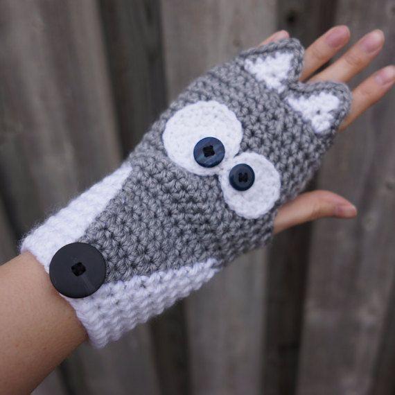 Crochet fingerless gloves, Silver Fox, Grey Wolf, Husky cute animal ...