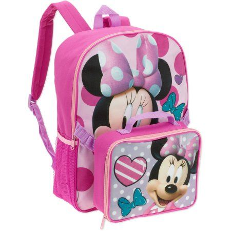 Minnie Backpack With Lunch Box Pink Minnie Mouse Backpack Backpacks Disney Backpacks