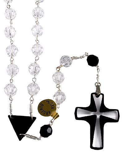 fcd411122d4 Cuentas De Rosario · Rosarios · Cristales Negros · Multifaceted Swarovski   Crystal  beads Rosary with Sterling Silver links