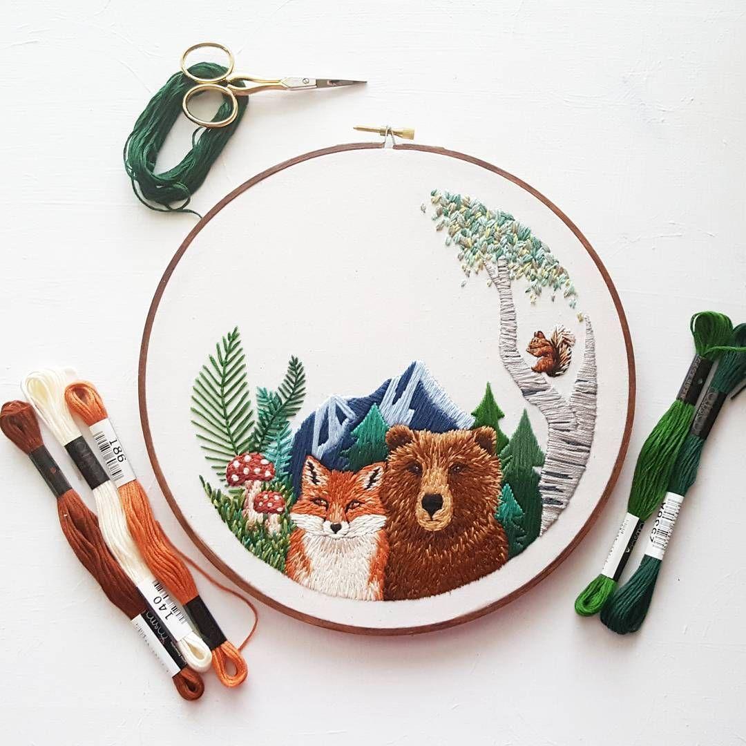 分享我在手工客 goke 发现的 清新自然的动物和植物刺绣